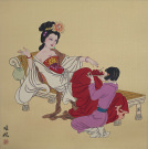 Large Antique-Style Chinese Woman and Servant Girl Painting