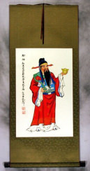 God of Prosperity Chinese Scroll