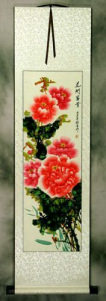 Red and Pink - Peony Flower Wall Scroll