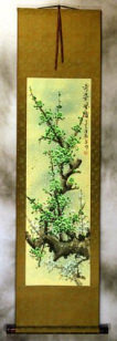 Strange Beauty Fragrant Wind - Green Plum Blossom Wall Scroll