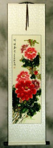 Delightful Springtime -  Peony Flower Wall Scroll