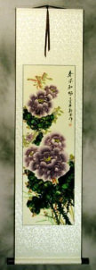 Purple Peony Flower Chinese Scroll