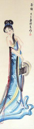 Xi Shi - Most Beautiful Woman in Asian History - Wall Scroll close up view
