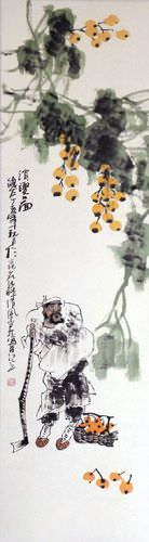 Loquat Man - Wall Scroll close up view