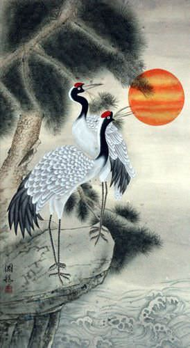 Antique-Style Cranes and Pine Tree Wall Scroll close up view