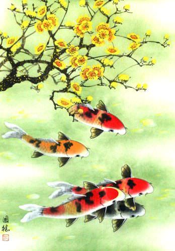 Koi Fish & Plum Blossoms - Chinese Wall Scroll close up view