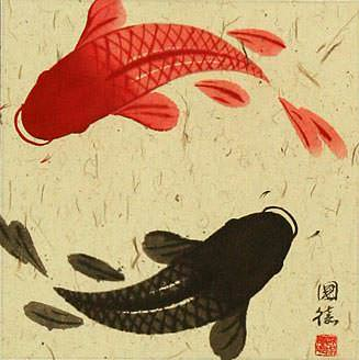 Chinese Yin Yang Fish Silk Wall Scroll close up view