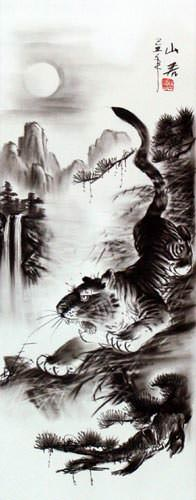Charcoal Tiger Drawing Wall Scroll close up view