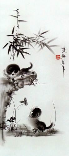 Charcoal Kittens and Butterfly Wall Scroll close up view