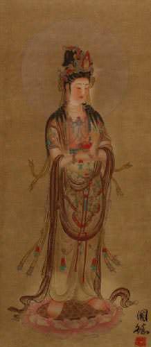 Guanyin Buddha - Buddhist Deity - Partial Print Wall Scroll close up view