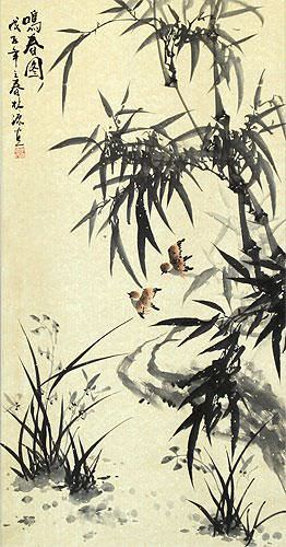 Bamboo and Birds - Chinese Black Ink Wall Scroll close up view
