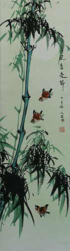 Birds and Chinese Bamboo Wall Scroll close up view