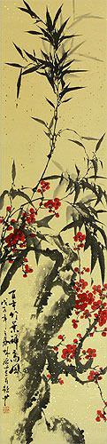 Plum Blossom and Bamboo Wall Scroll close up view
