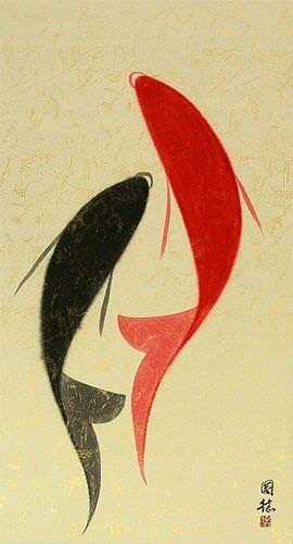 Large Abstract Yin Yang Fish Painting Wall Scroll close up view
