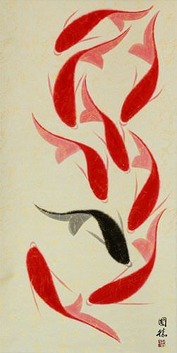 Large Nine Abstract Koi Fish Chinese Wall Scroll close up view