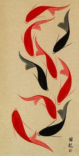 Jumbo Nine Abstract Koi Fish Wall Scroll close up view