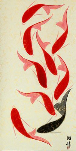 Huge Nine Abstract Koi Fish Asian Wall Scroll close up view