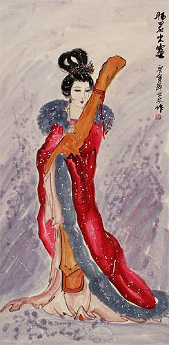 Zhao Jun - The Distinguished Chinese Beauty Wall Scroll close up view