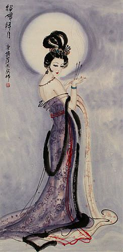 Diao Chan - Famous Beauty of China Wall Scroll close up view
