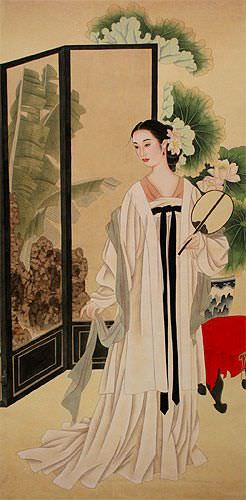 Lady in Waiting - Large Wall Scroll close up view
