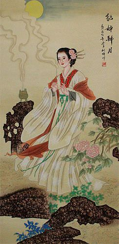 Diao Chan - Famous Beauty of China - Wall Scroll close up view