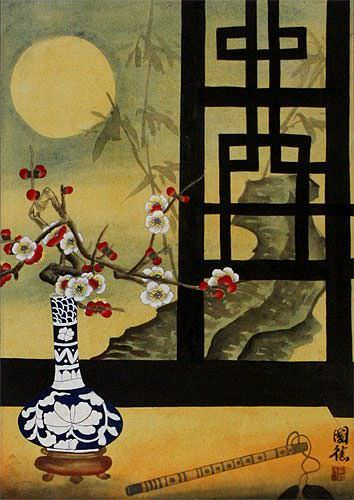 Chinese Still Life Scene Wall Scroll close up view