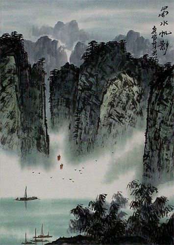 Southern Mountains and River Landscape Wall Scroll close up view