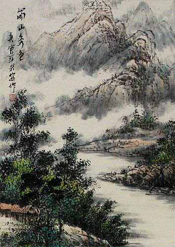 Riverside Village Home Landscape Wall Scroll close up view