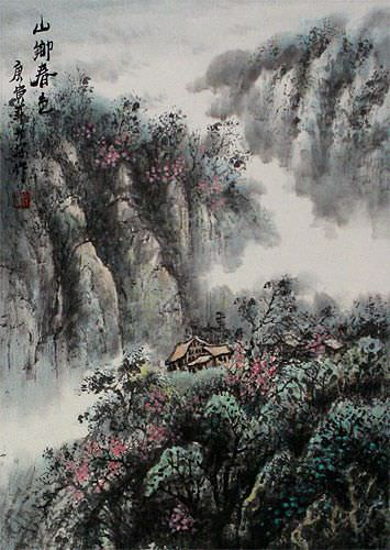 Colors of Spring at Mountain Village - Landscape Wall Scroll close up view