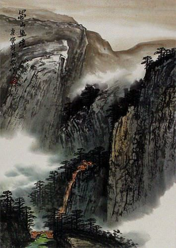 Serenity of a Sichuan Village Landscape Wall Scroll close up view
