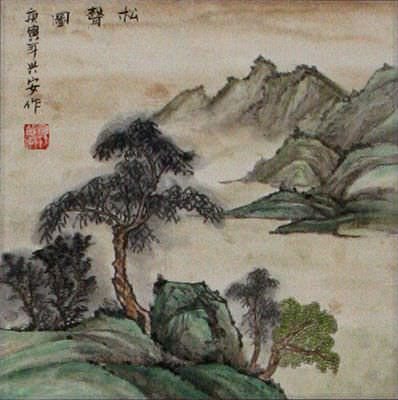 The Sound of Pine - Landscape Wall Scroll close up view