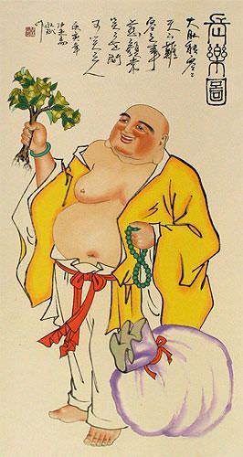 Happy Longtime Buddha Wall Scroll close up view