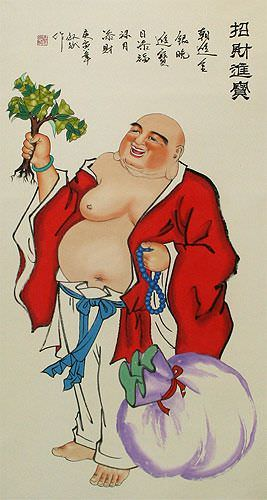 Happy Longtime Buddha - Chinese Wall Scroll close up view