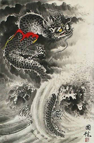 Sea Wave Dragon - Chinese Wall Scroll close up view