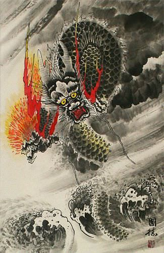 Chinese Sea Dragon - Asian Wall Scroll close up view