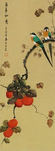 Everything As You Wish - Persimmon and Bird Wall Scroll close up view