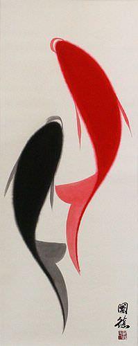 Abstract Yin Yang Fish Wall Scroll close up view