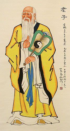 Wisdom of Lao Tzu / Laozi Wall Scroll close up view
