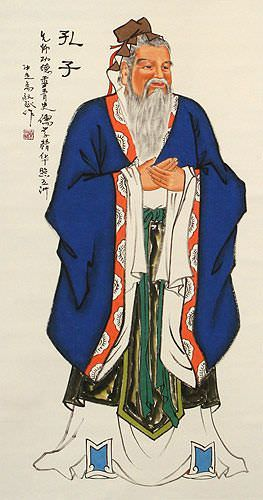 Confucius - The Wise Sage - Wall Scroll close up view