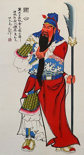 Guan Gong - Chinese Saint of Soldiers Wall Scroll close up view