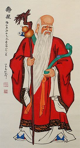 Saint of Longevity - Chinese Wall Scroll close up view