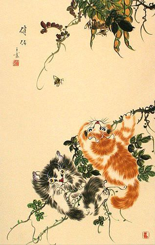 Chinese Kittens - Cat Art Wall Scroll close up view