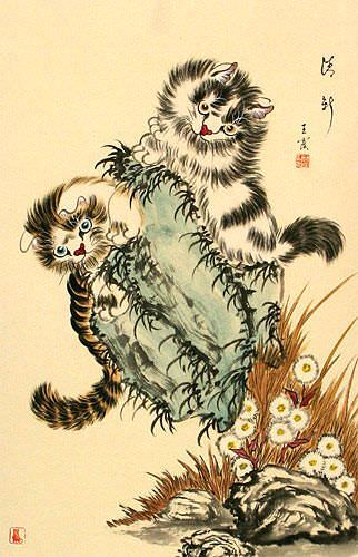 Asian Kittens - Chinese Cat Scroll close up view