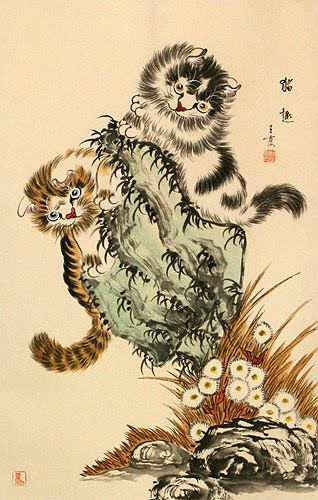 Kittens Cats - Chinese Wall Scroll close up view