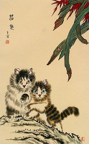 Asian Kittens - Chinese Art Wall Scroll close up view
