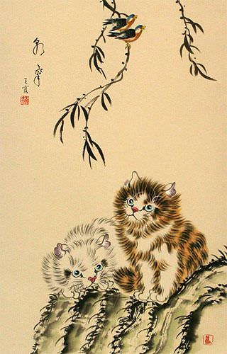 Asian Kittens - Oriental Wall Scroll close up view
