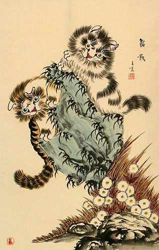 Playful Cats Wall Scroll close up view