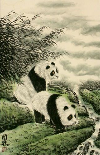Blemished Panda Wall Scroll close up view