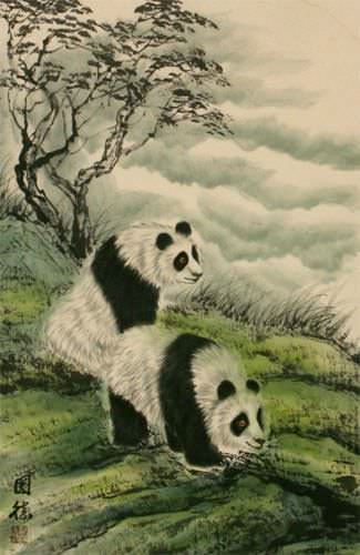 Chinese Sichuan Pandas Wall Scroll close up view