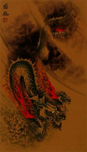 Mystic Chinese Dragon - Asian Wall Scroll close up view
